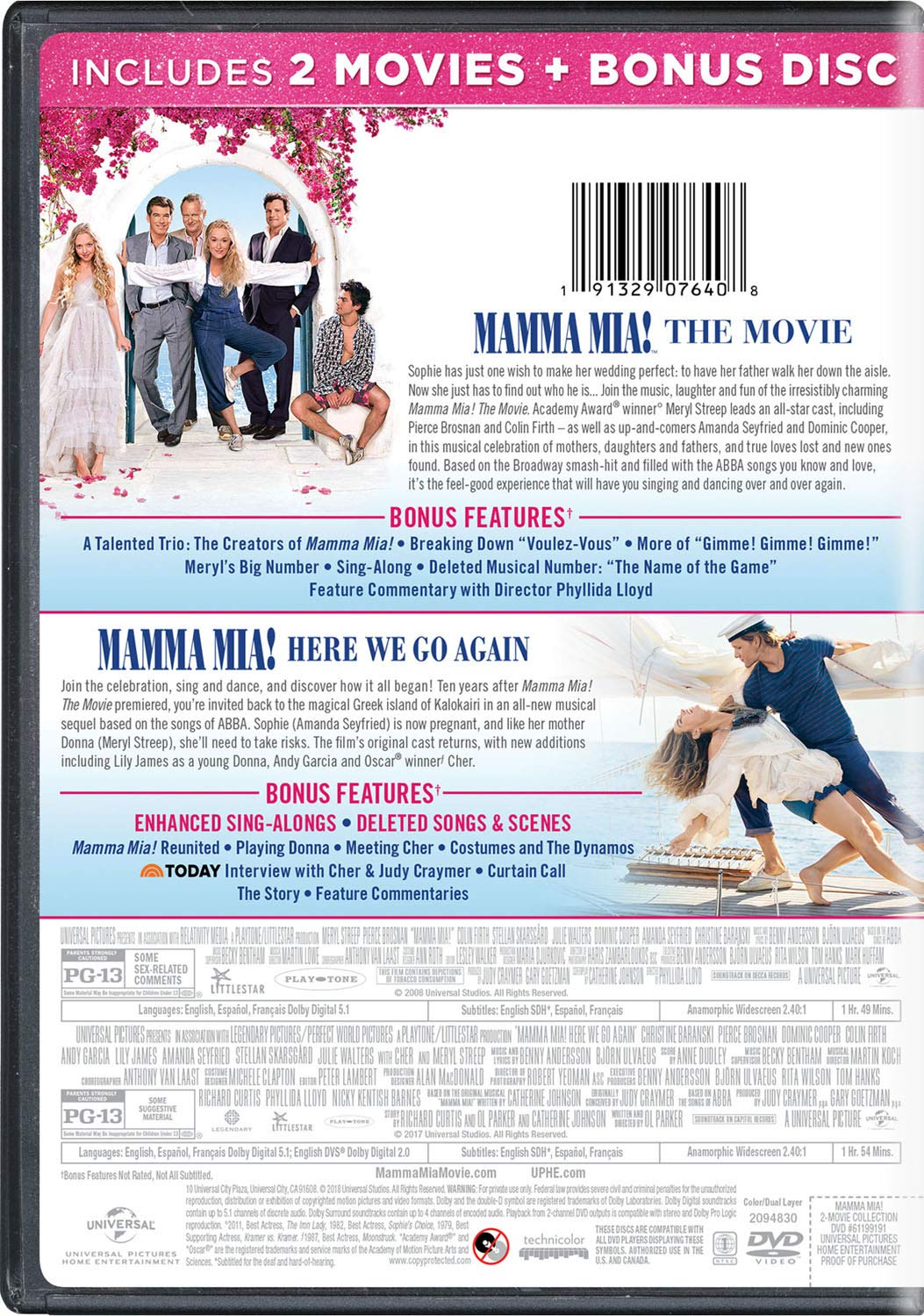Mamma Mia: 2-Movie Collection 3 Dvd Edizione: Stati Uniti Italia ...