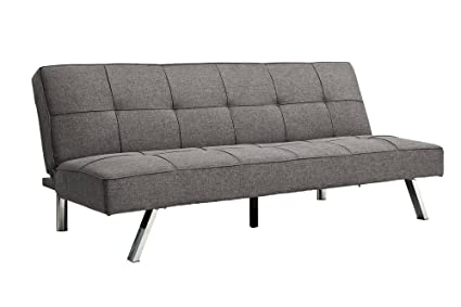 DHP Zoe Futon Convertible Sofa Bed Couch, Tufted Upholstery, Grey