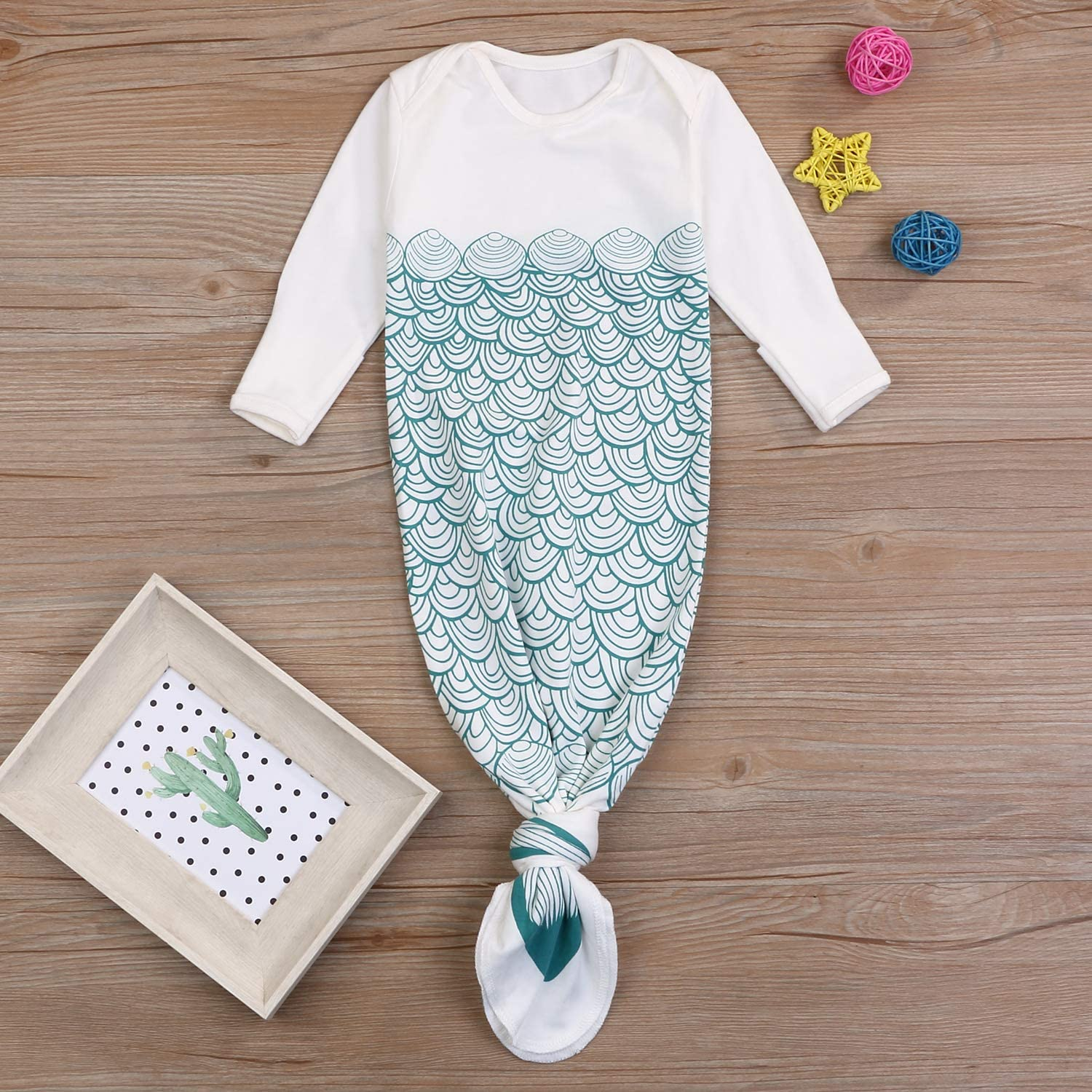 Newborn Cotton Gowns Baby Sleep Bag Pajamas Long Sleeves Mermaid Tail Baby Wearable Blanket Infant Sleepers Sleepwear