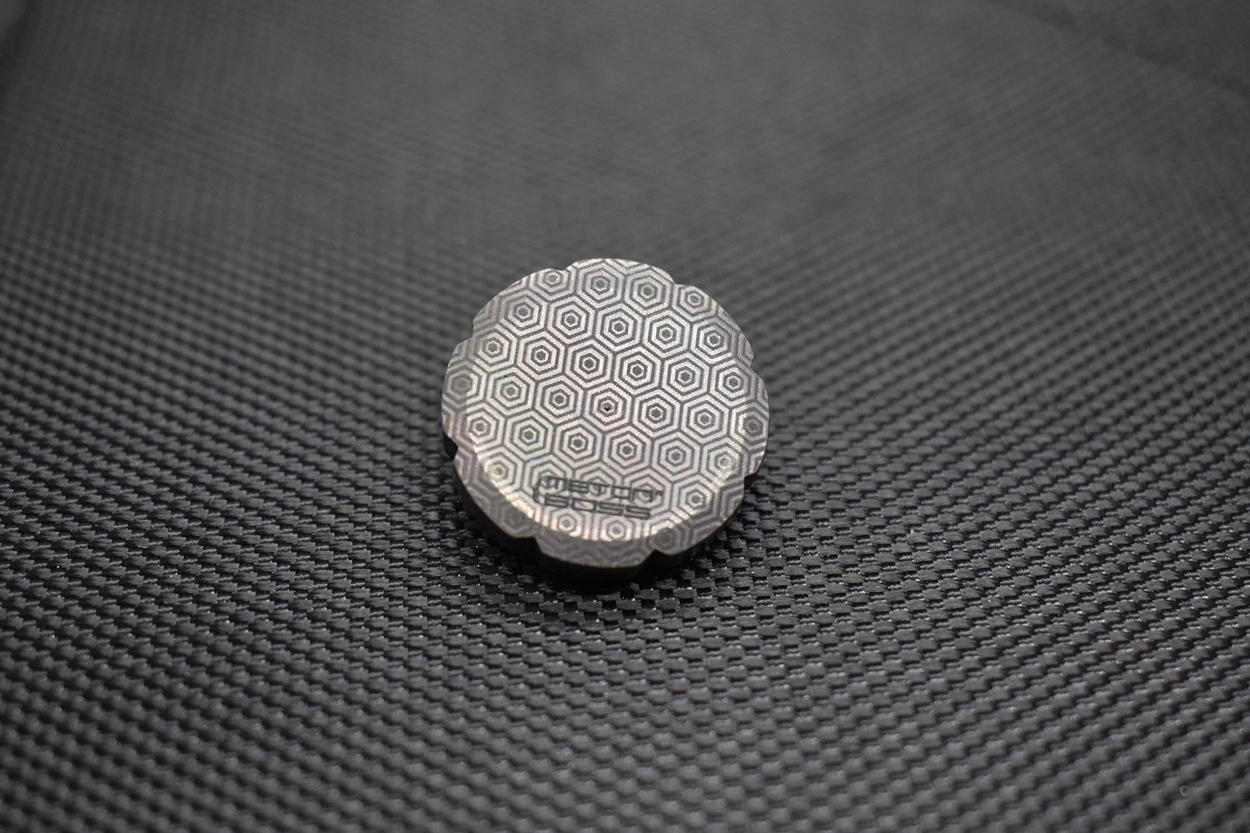 MetonBoss Worry Coin Black Zirconium & Ruby Bearing   Everyday Carry Gear   Precision-Made and Desktop Display by MetonBoss (Image #6)