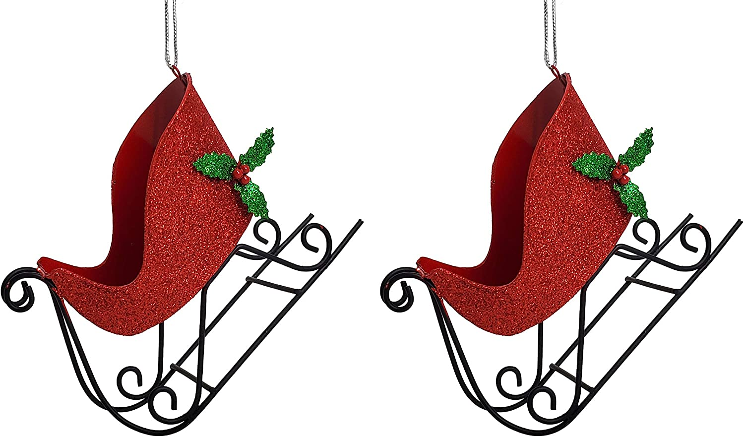 Party Explosions Red Glitter Christmas Santa Sleigh Ornament with Metal Skis - Set of 2