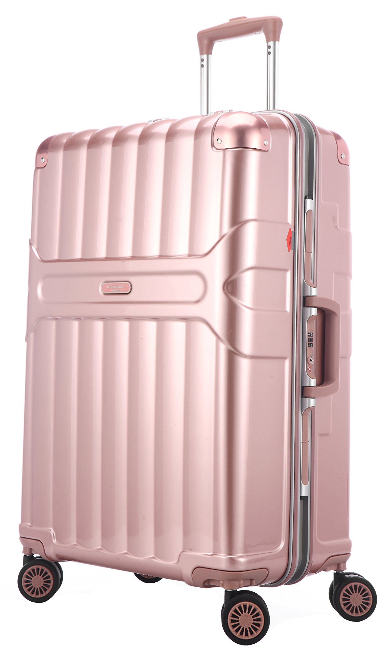 Ambassador Luggage Aluminum Frame Carry On Luggage Polycarbonate Spinner Suitcase Rose Gold
