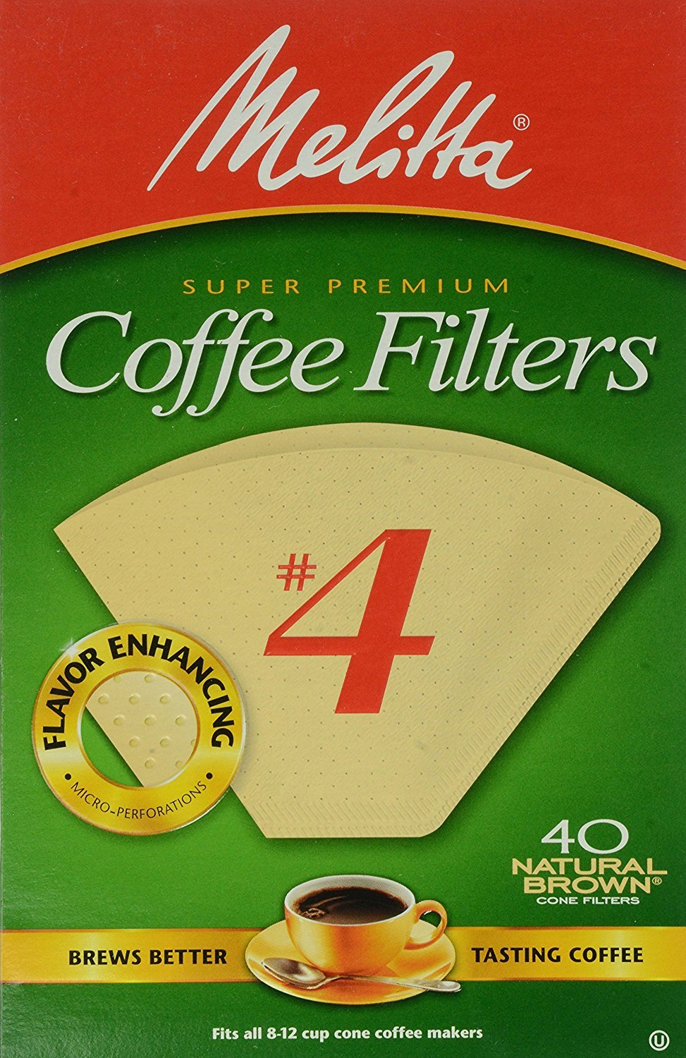 Melitta Cone Coffee Filters No. 4 Unbleached Natural Brown 40 Count Pack of 2 (80 Filters Total)