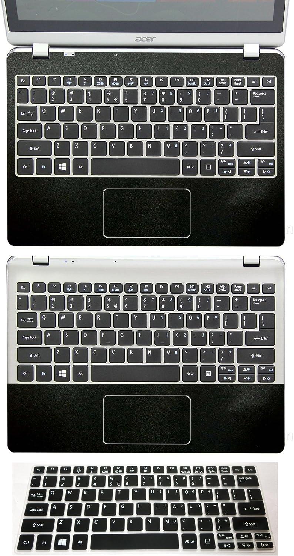 "3in1 Full+Half Wrist Palmrest Touchpad Skin + Keyboard Cover Protector for 11.6"" Acer Aspire V5-122 V5-122P V5-132 V5-132P (matte black palmrest sticker+half palmrest sticker+semi-black keyboard skin)"