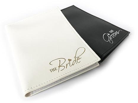 35a92c1ea Amazon.com | The Bride & The Groom Just Married Wedding Honeymoon Passport  Holders Set of 2 | Passport Wallets