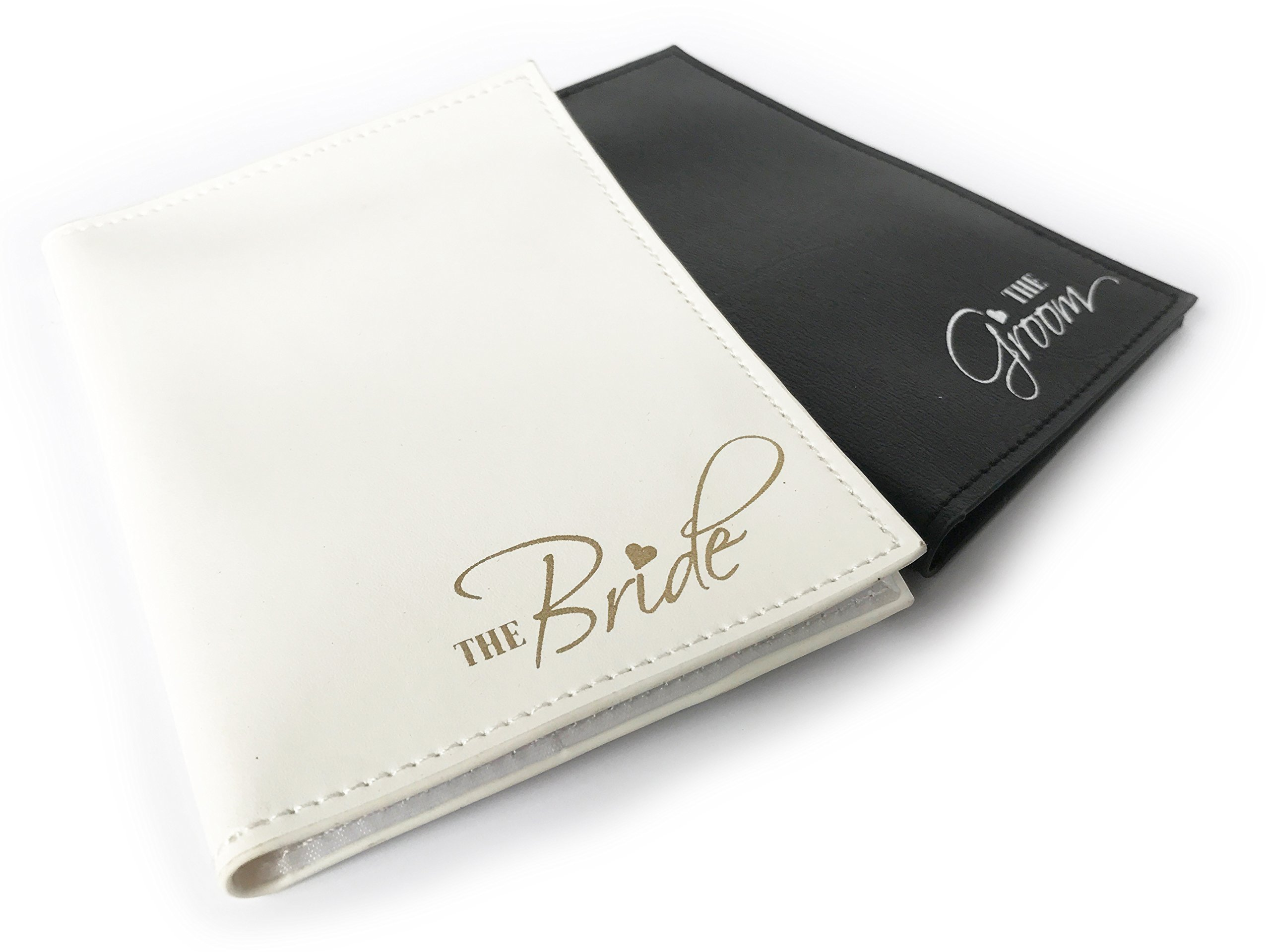 The Bride & The Groom Just Married Wedding Honeymoon Passport Holders Set of 2