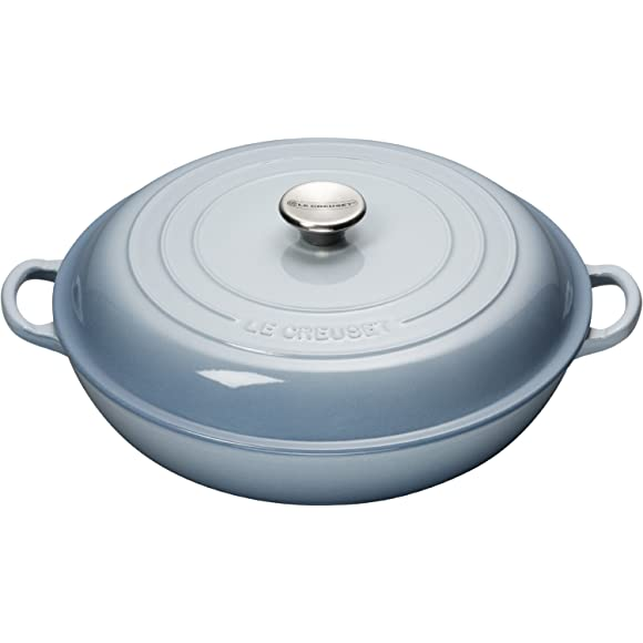 Le Creuset Cast Iron Shallow Casserole 30 cm Duck Egg Blue