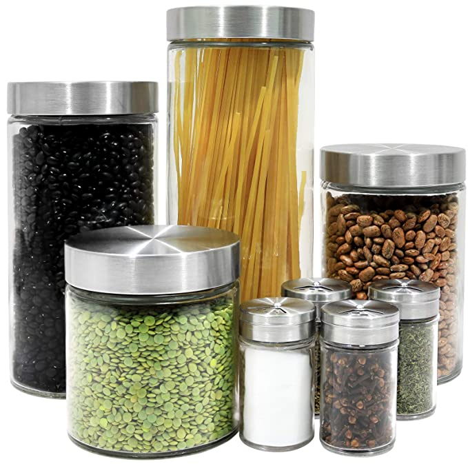 Estilo 8 Piece Glass Canisters And Spice Jar Set With Stainless Steel Screw On Lids, Clear by Estilo
