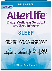 Allerlife Sleep Capsules, Daily Allergy Supplements and Sleep Aid, 60-Count