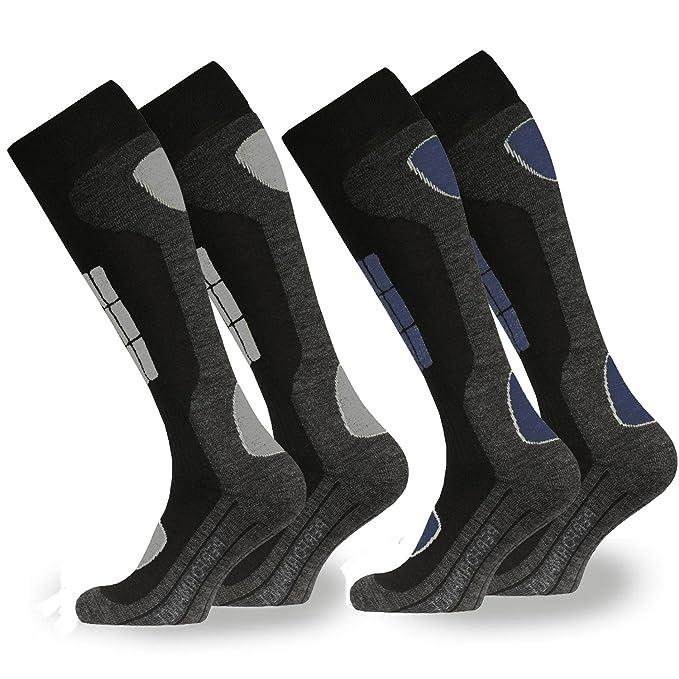 2 pares de calcetines de esquí/snowboard para hombre, con acolchado | Calcetines térmicos