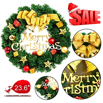 mannice large christmas wreath for front door wall windows artificial poinsettia xmas decorationgold bowknot - Large Christmas Wreath