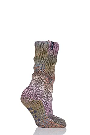 1 Pair Ladies Knitted Cable Bootie Sock Slippers with Pom Pom uk 4-8