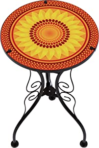 "Trademark Innovations 22"" Sunflower Design Glass & Metal Side Table"