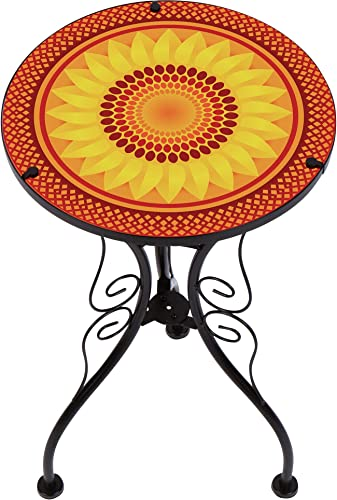 Trademark Innovations 22″ Sunflower Design Glass Metal Side Table