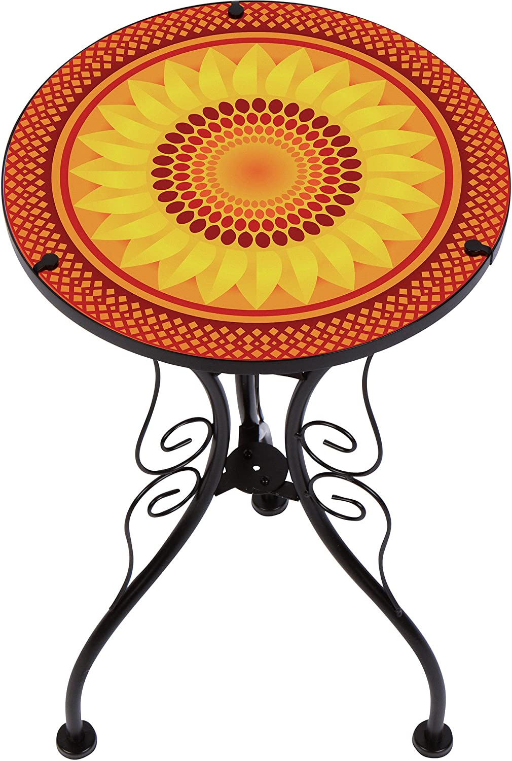 Trademark Innovations 22 Sunflower Design Glass Metal Side Table
