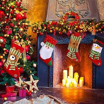 Sayala 4 Calcetines Navideños,Calcetines Navidad Decoración de SantaClaus Muñeco Nieve Botas Bolsillo Calcetín de Tartán de Felpa Roja para Año de Dulces ...
