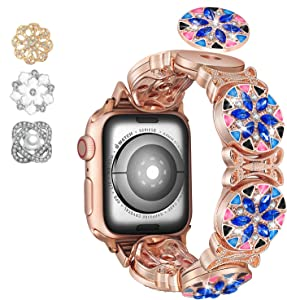 Fohuas Colorful bling band compatible for apple watch Series SE 6 5 4 3 2 1,Blue BOHO stainless steel Apple Watch jewelry Bracelet,DIY Rhinestone iphone watch sparkling Wristband Strap--(Rose Gold Boho, 42mm/44mm)
