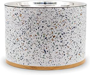 Pet Junkie Terrazzo Elevated Dog Bowl for Food and Water with Stainless Steel Washable Inner Bowl, White