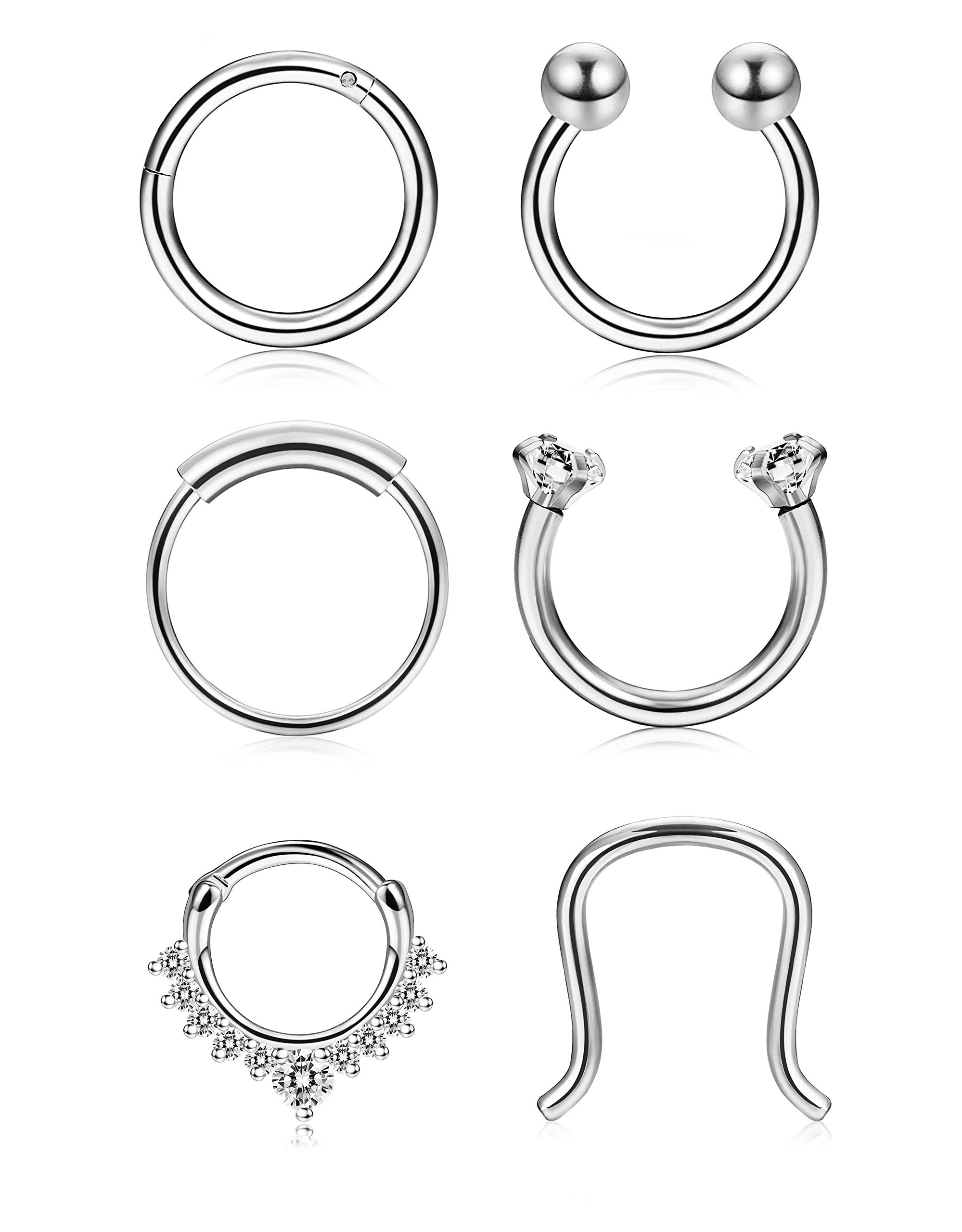 Thunaraz 4-6Pcs 316L Stainless Steel Septum Piercing Nose Rings Hoop Cartilage Tragus Retainer Body Piercing Jewelry 8MM 16G (E:6Pcs Silver Tone (Inner:10MM))