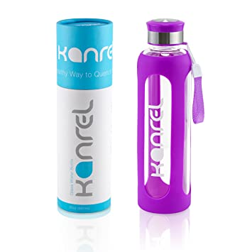 Botella Agua Cristal 1 litro / 1000 ml Grande con Funda de Silicona, Reutilizable, Libre BPA, Portatil, de Vidrio Ecológica para Deporte, Yoga, ...