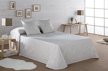ESTELA - Colcha/Cubrecama Tejido Jacquard LLANES Color Lino - Cama de 150/160 cm. - 50% Algodón/50% Poliéster: Amazon.es: Hogar