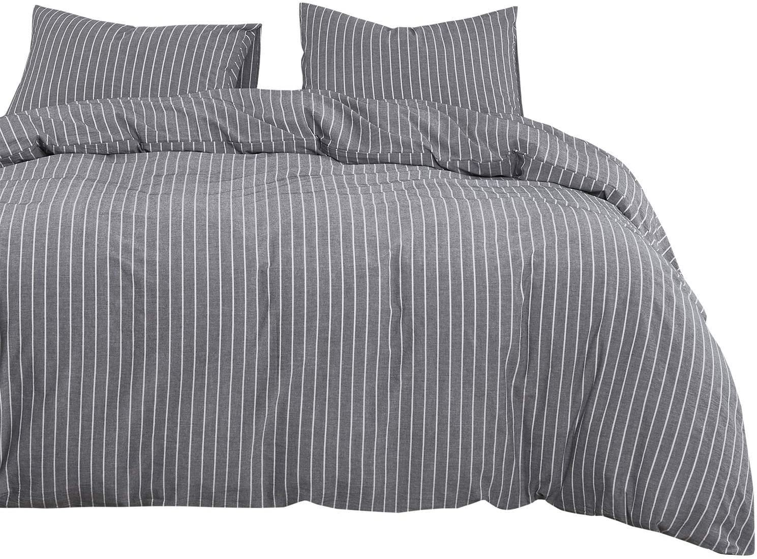 Wake In Cloud - Gray Striped Duvet Cover Set, 100% Washed Cotton Bedding, Grey with White Vertical Ticking Stripes Pattern Printed, with Zipper Closure (3pcs, Twin Size)