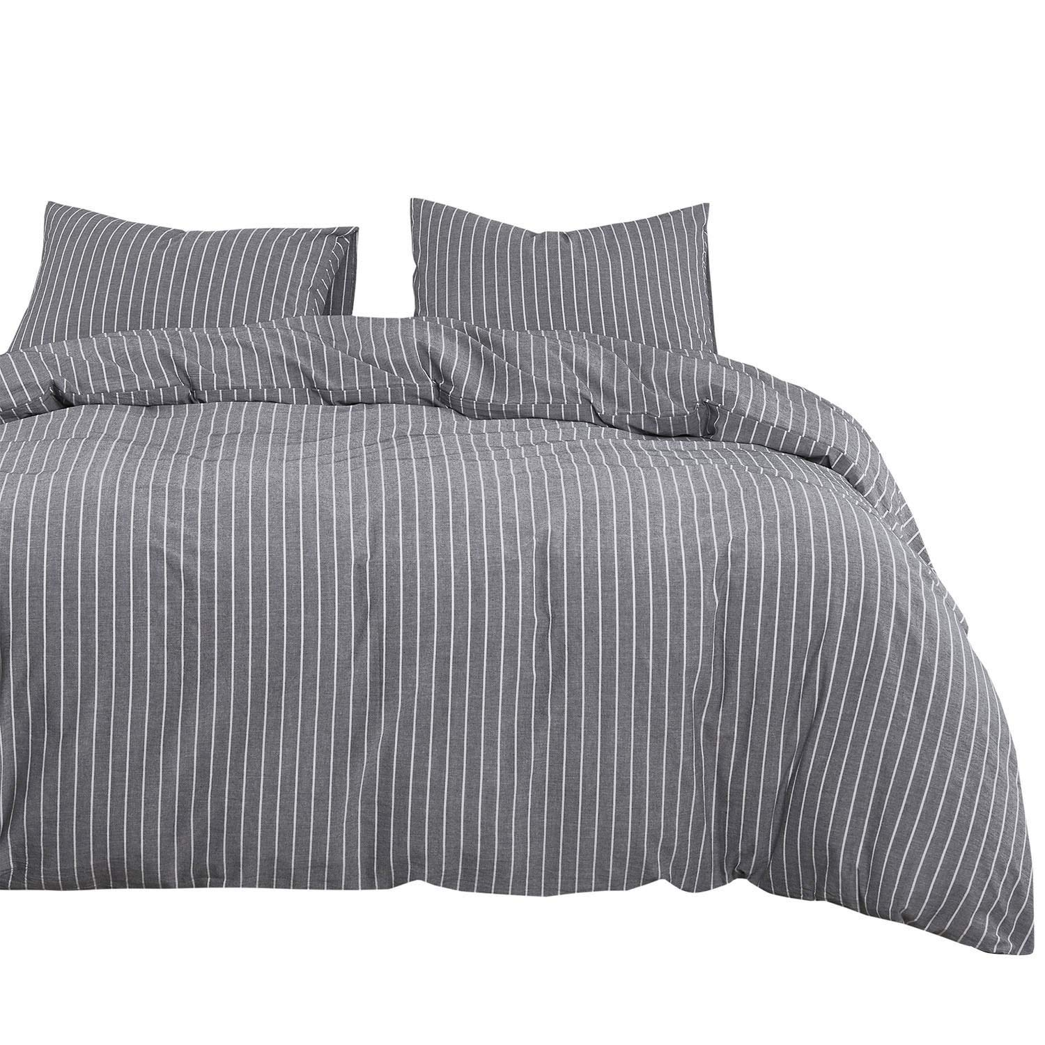 Wake In Cloud - Gray Striped Duvet Cover Set, 100% Washed Cotton Bedding, Grey with White Vertical Ticking Stripes Pattern Printed, with Zipper Closure (3pcs, California King Size)