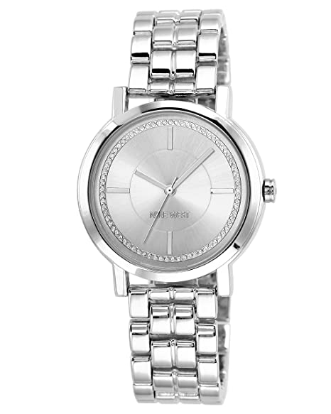 1c28d2cedc4 Nine West Reloj de pulsera con detalles de purpurina para mujer, Plateado