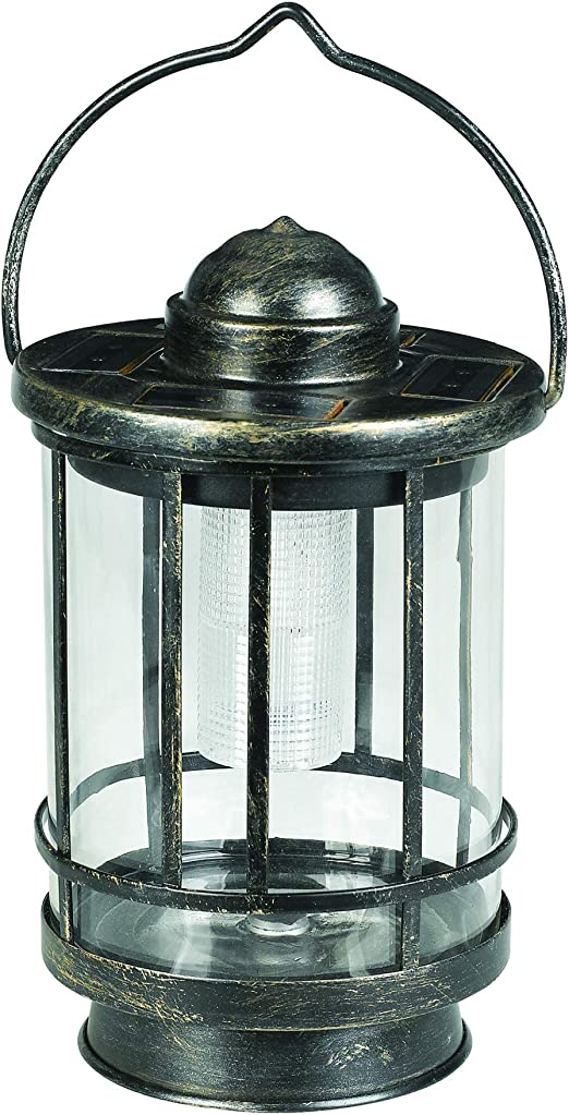 Duracell GL046CBDU Garden Solar Light LED Table Top Light 5 Lumen Metal Lantern with Weathered Finish