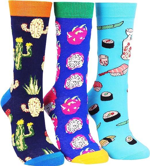 Fruits Socks Fun Crew Socks Novelty Patterned Cotton Socks  Avocado Ankle Socks