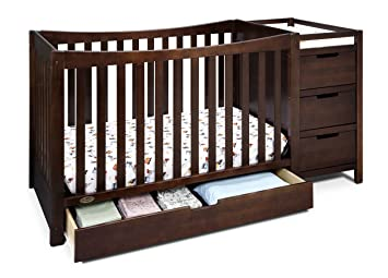 Full-size Crib With Changer White 2-in-1 Toddler Kid Bed Nursery Bedroom New!