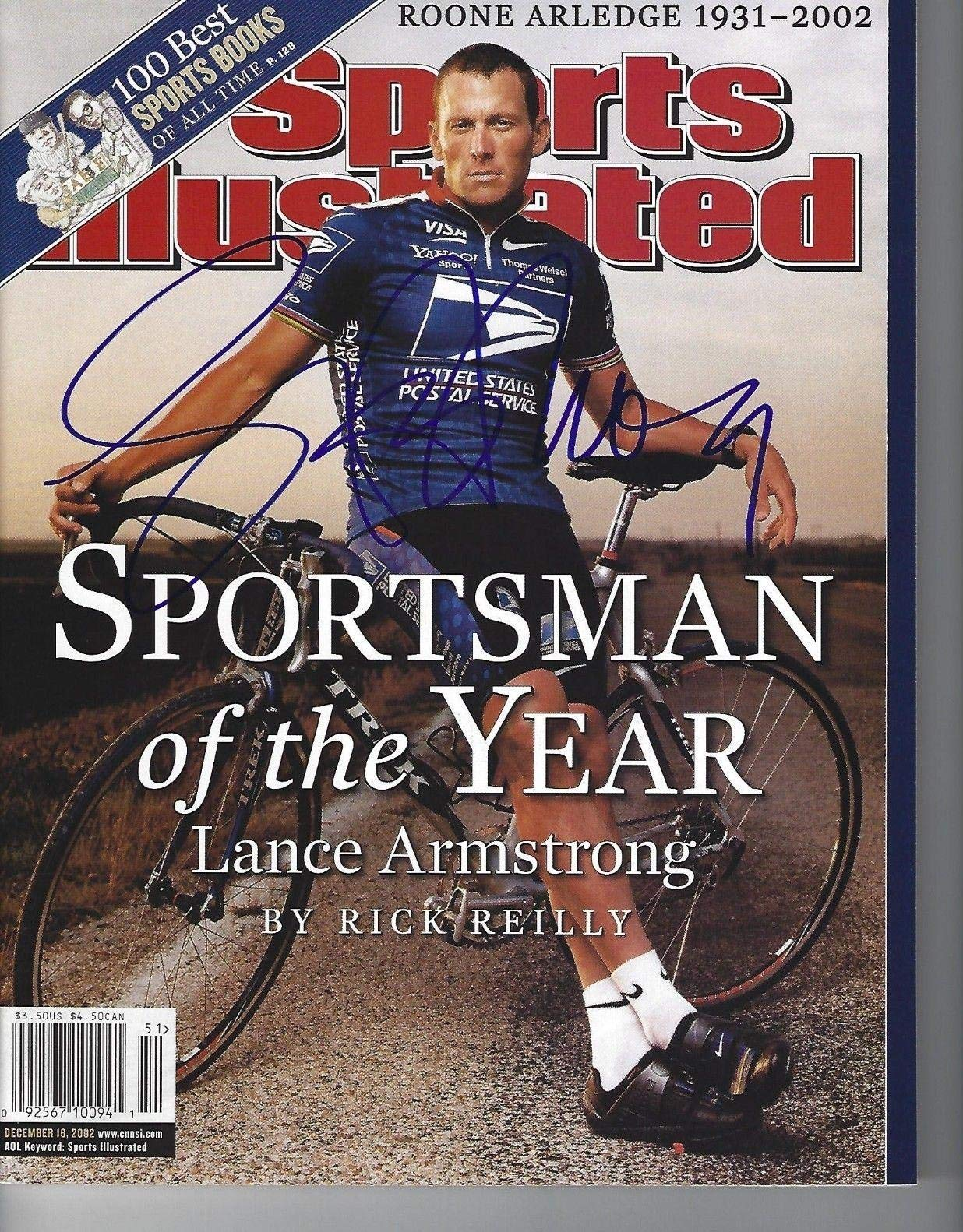 LANCE ARMSTRONG Signed 12/16/02 SPORTS ILLUSTRATED with Schwartz COA (NO LABEL) Autographed Sports Magazines