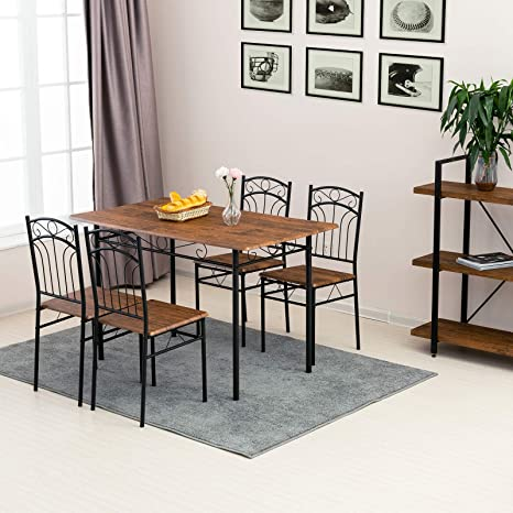 mecor 5 Piece Dining Table Set, Vintage Wood Tabletop Kitchen Table w/ 4  Chairs with Metal Frame (Light Brown)