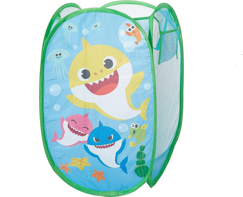 Idea Nuova Baby Shark Pop Up Hamper Storage Bin with Durable Carry Handles, 21