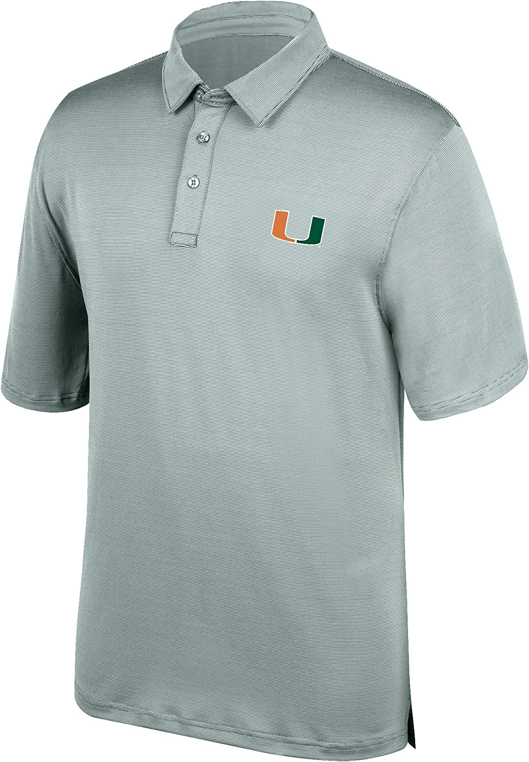 J America NCAA Men's Miami Hurricanes Yarn Dye Striped Team Polo Shirt, Large, Forest Green