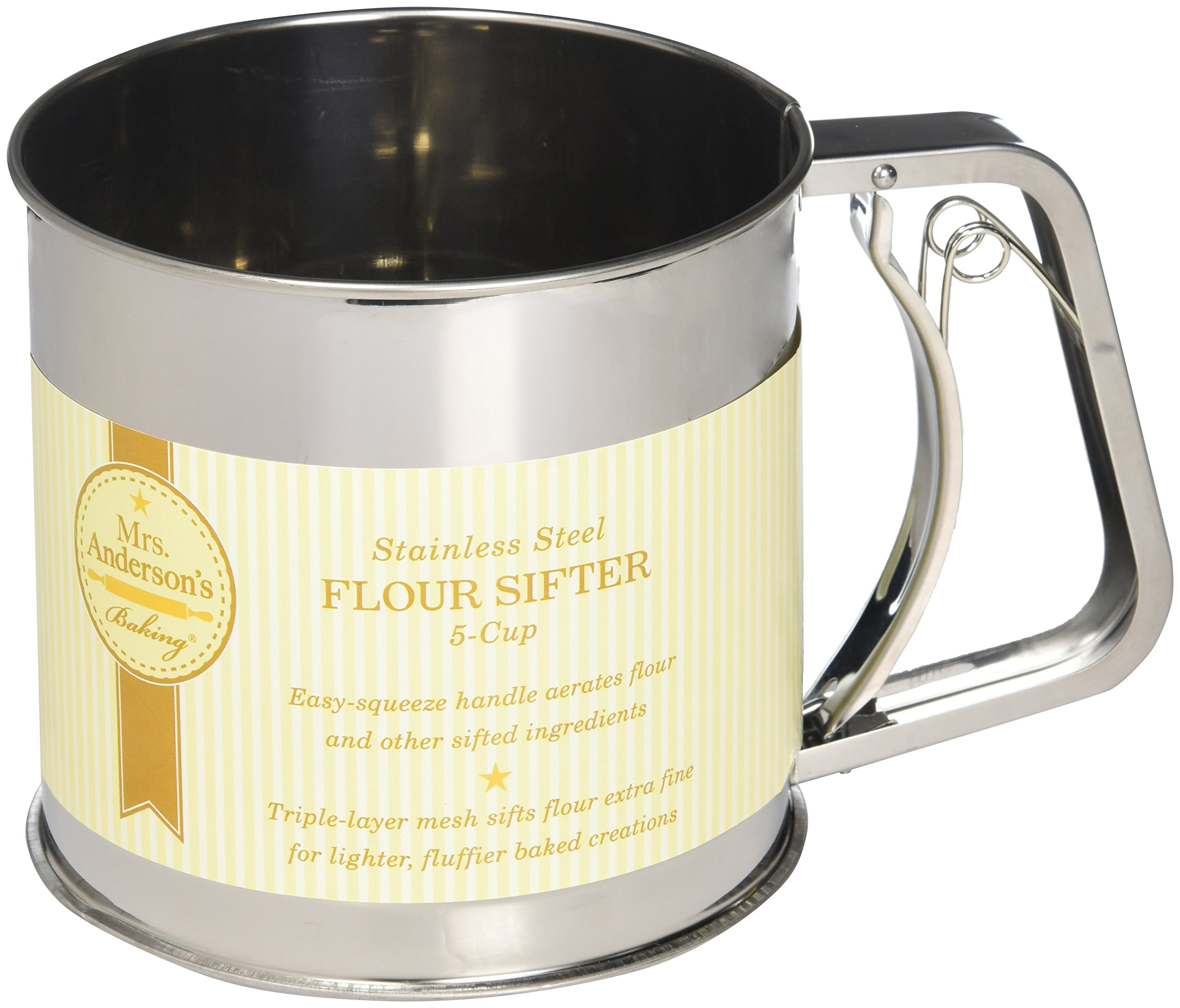 Mrs. Anderson's Baking Hand Squeeze Flour Sifter, Stainless Steel, 5-Cup Capacity