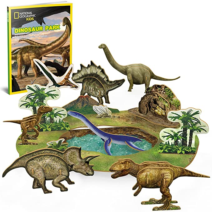 CubicFun National Geographic Dinosaur Puzzle Educational toys with Bookelts,DS0973h