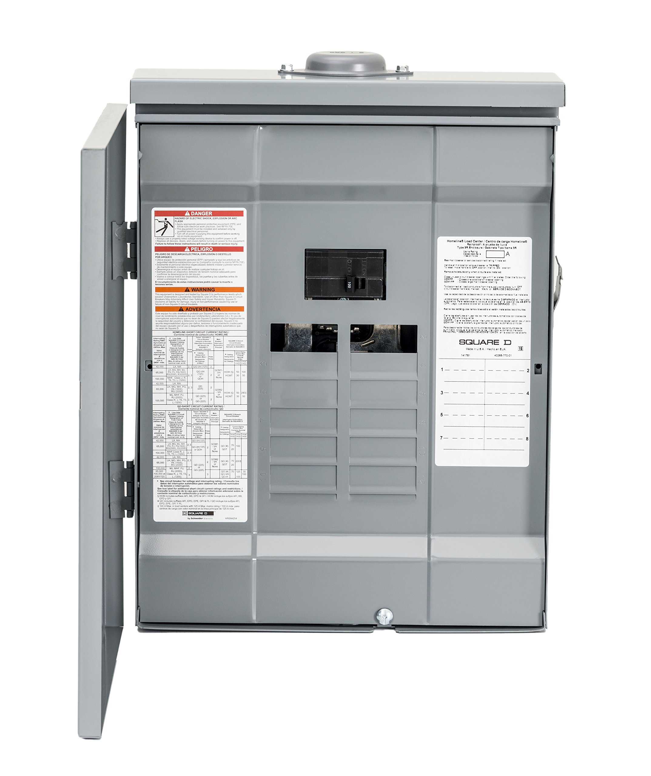 Square D by Schneider Electric HOM816M100PRB Homeline 100 Amp 8-Space 16-Circuit Outdoor Main Breaker Load Center (Plug-on Neutral Ready),