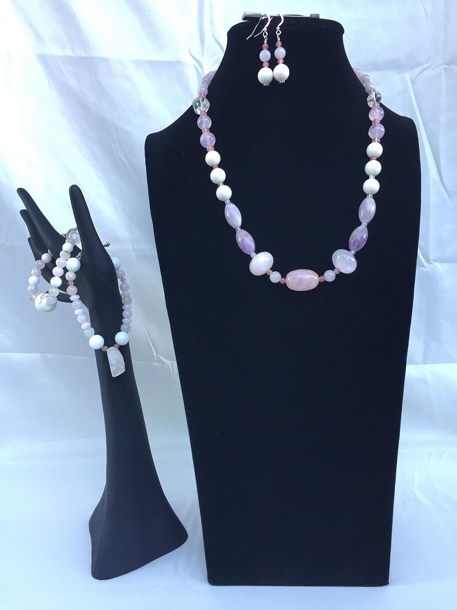 Beautiful handmade jewelry set with a necklace, two bracelets and matching dangle earrings. Rose quartz and mixed gemstones. One of a kind