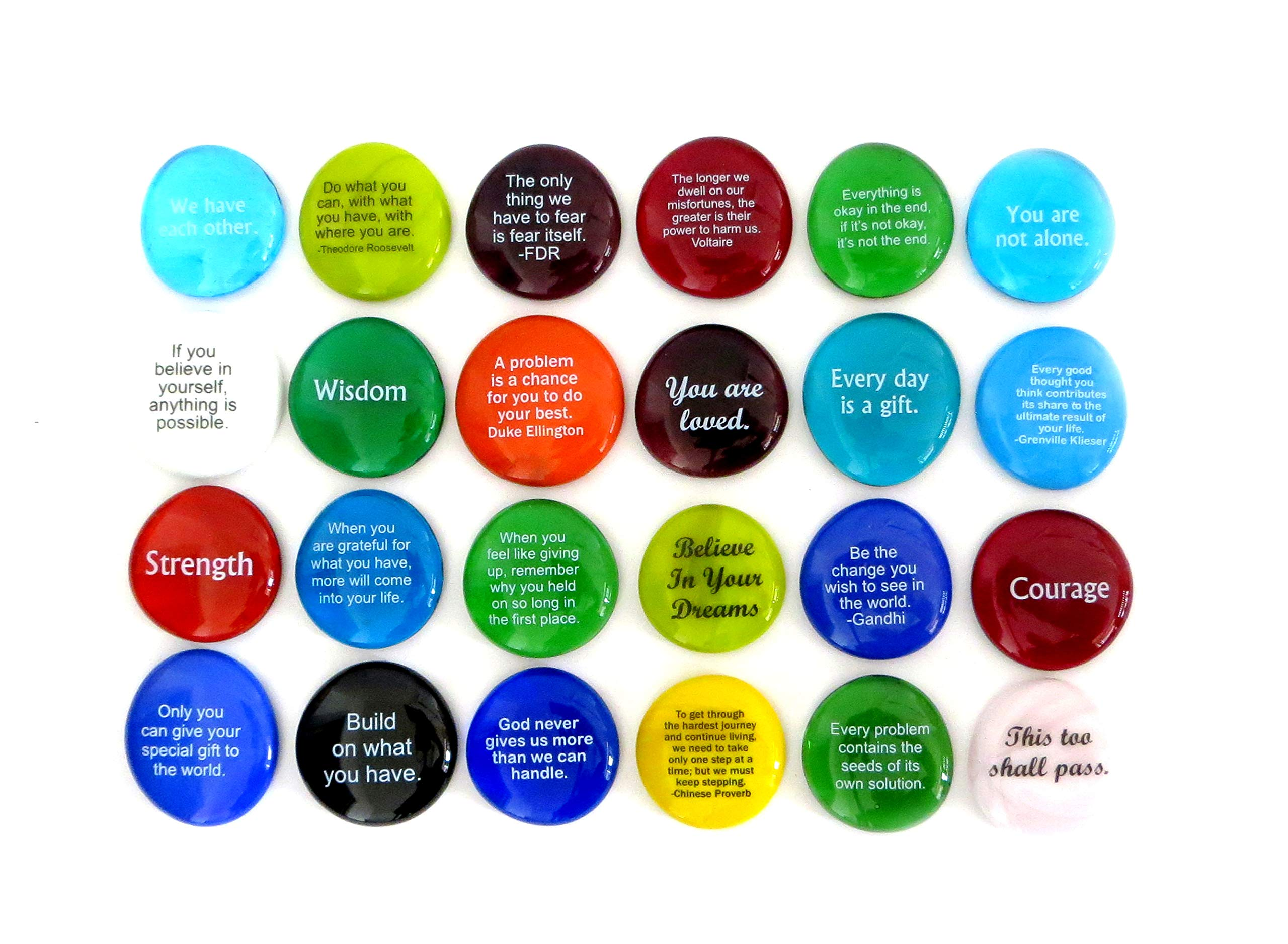 Encouragement Stones, Set of 24 Motivational and Inspirational Quotes and Sayings on Translucent and Opaque Glass Stones, by Lifeforce Glass. by Lifeforce Glass