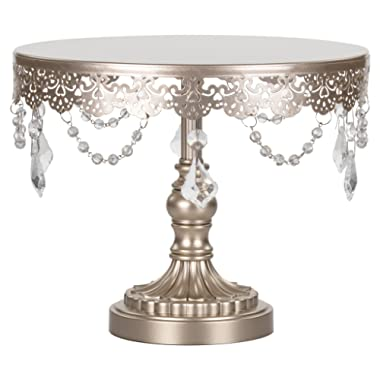 Amalfi Decor 10 Inch Cake Stand, Dessert Cupcake Pastry Candy Display Plate for Wedding Event Birthday Party, Round Metal Pedestal Holder with Crystals, Champagne