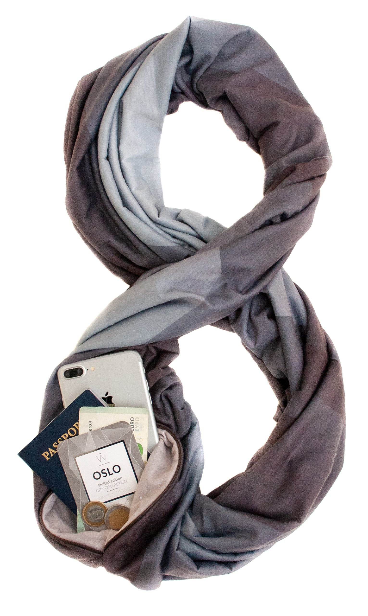 TRAVEL SCARF by WAYPOINT GOODS//Infinity Scarf w/Secret Hidden Zipper Pocket (Oslo)