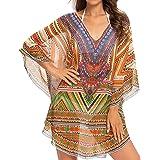 WEIYAN Womens Retro Printing Swimwear Bathing Cover Ups Tunic Blouses Tops