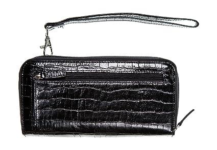 WalletBe Women's Croco Leather Accordion Wallet Purse Doublewide ...