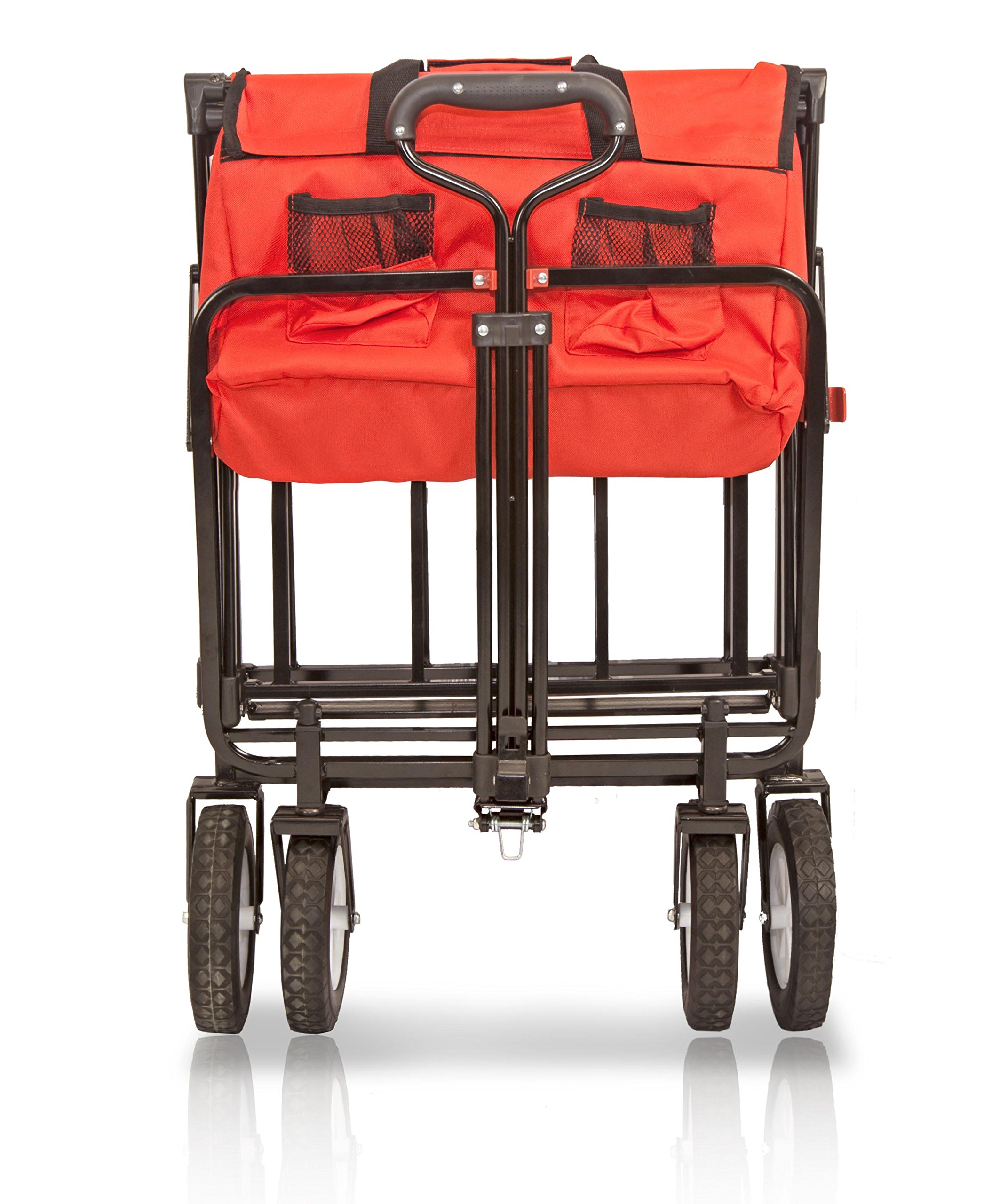 Wonder Fold Outdoor Next Generation Utility Folding Wagon with Removable Polyester Bag, Spring Bounce Feature, Auto Safety Locks, 180 Degree Steering Telescoping Handle Performance, Scarlet Red by WonderFold Outdoor (Image #5)