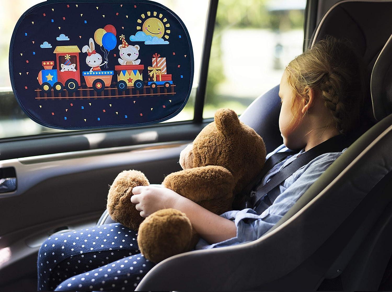 44x36cm Pare-Soleil pour vitres de Voiture | Les Animaux dans Le Train 2 pi/èces Pare-Soleil Auto y Compris Sacoche HECKBO/® Pare-Soleil autoadh/ésif Protection Solaire pour Enfants