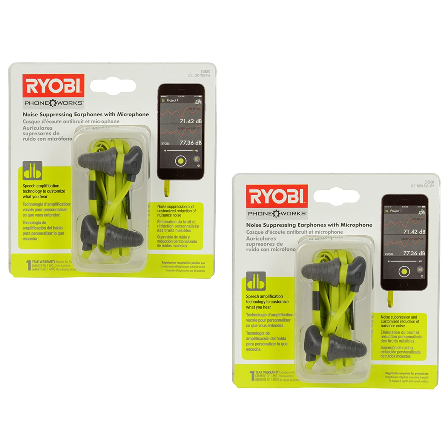 Amazon.com: Ryobi ES8000 Noise Cancelling Earphones w/Voice Amplifying Microphone - 2 Pack: Home Audio & Theater