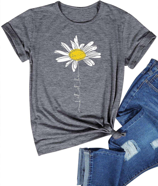 Dresswel Women Let It Be Daisy T-Shirt Crew Neck Graphic Print Summer Top
