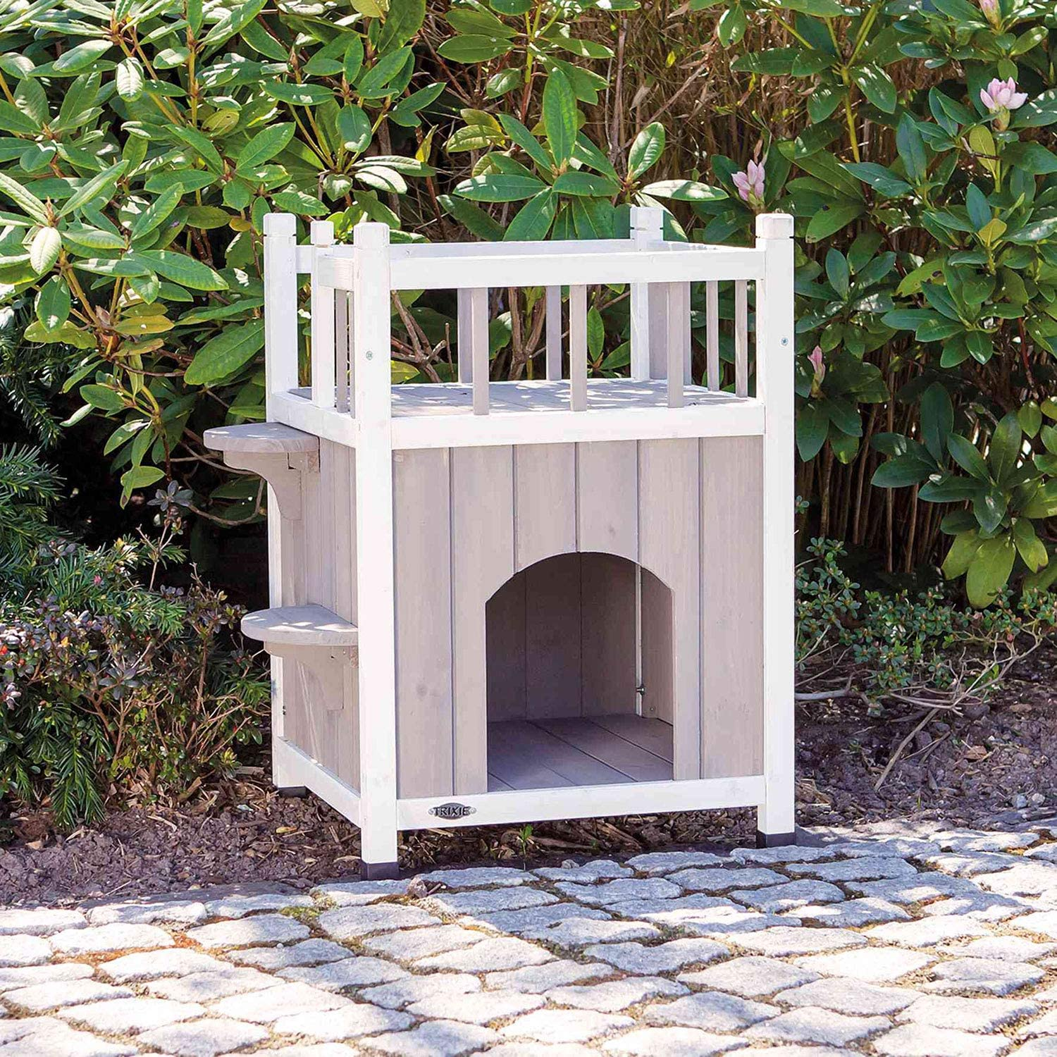 Trixie Pet Products Wooden Pet Home With Balcony Gray White Pet Supplies