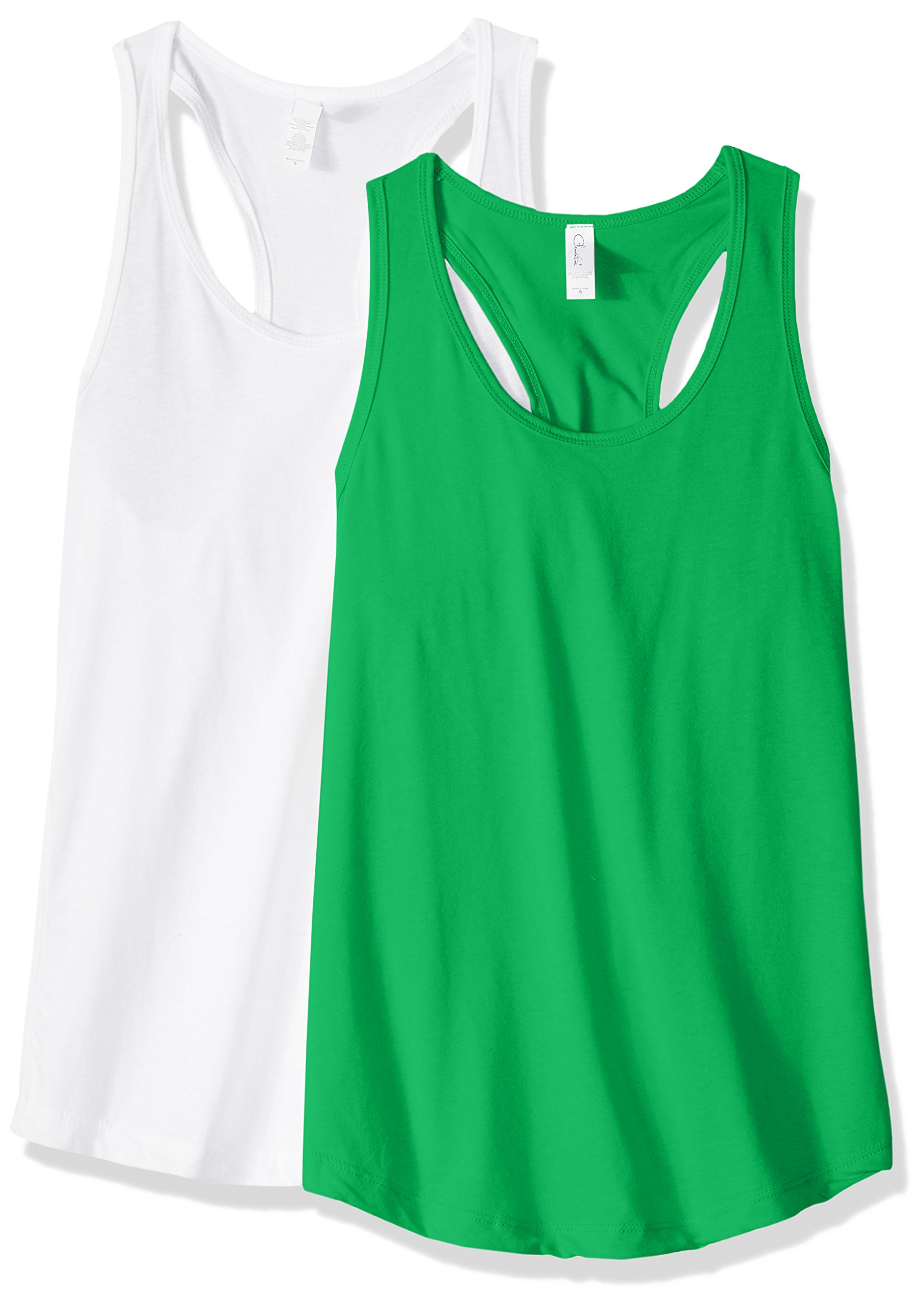 Clementine Apparel Women's Petite Plus Ideal Racerback Tank Tops (Pack of 2), Kelly GreenWhite, M